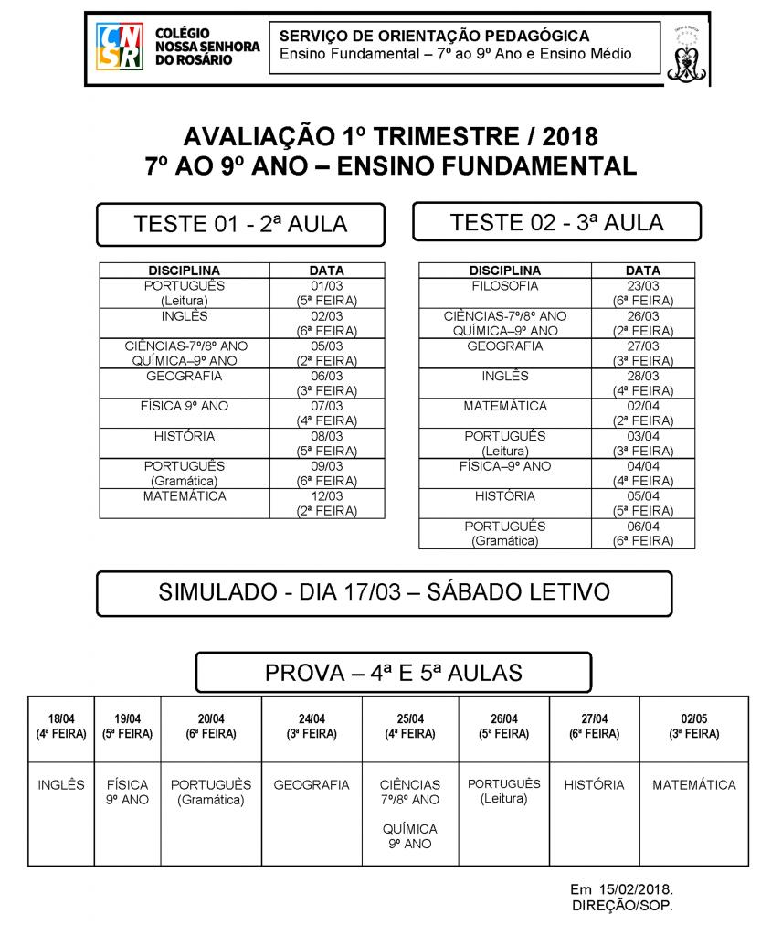Calendário de Avaliações 7º ao 9º Ano 1º Trim. 2018